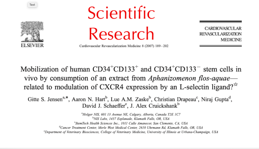 Mobilization of human CD34+ CD133+ and CD34+ CD133! stem cells in vivo by consumption of an extract from Aphanizomenon flos-aquae-related to modulation of CXCR4 expression by an L-selectin ligand